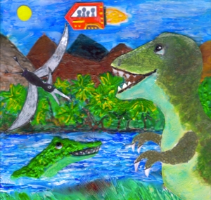 Here is the cover art for Time Trip: A Dinosaur Musical.